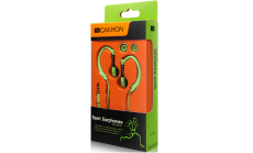Canyon sport earphones, over-ear fixation, inline microphone, green