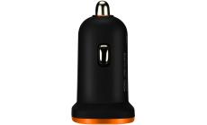 CANYON Universal 1xUSB car adapter, Input 12V-24V, Output 5V-1A, black rubber coating with orange electroplated ring(without LED backlighting)