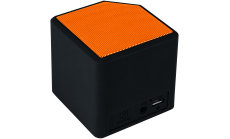 Portable Bluetooth V4.2+EDR stereo speaker with 3.5mm Aux, micro-USB port, bulit in 300mA battery, Black and Orange