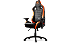 COUGAR Armor S Gaming Chair, Full Steel Frame, 4D adjustable arm rest, Gas lift height adjustable, 180? seat back adjustable, Head and Lumbar Pillow, High density mold shaping foam, Premium PVC leather,Weight Capacity-120kg,Product Weight-21kg