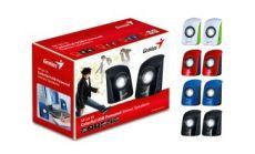 Колони Genius SP-U115, USB, Red - 2.0 компактни колонки, 3W (2x1,5), управление силата на звука, 3.5мм аудио-вход