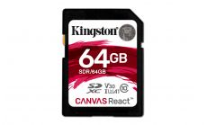 Карта памет Kingston Canvas React, 64GB, Class 10 UHS-I U3