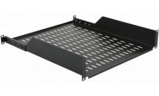 """MIRSAN MR.HRM2U35.01 :: Рафт за 19"""" сървърен шкаф - 486 x 450 x 44 мм, D=450 мм, вентилиран, адаптивен 4-точков монтаж, 30 кг товар, черен"""