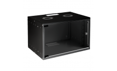 MIRSAN MR.SOH09U40MN.01 :: Сървърен шкаф за мрежово оборудване - 535 x 400 x 440 мм, D=400 мм / 9U, черен, за стена, SOHO