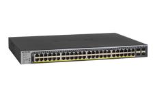 Суич Netgear GS752TP, 48 x 10/100/1000 PoE and 4 SFP, 8 x PoE+, 2nd generation SMART SWITCH, Budget 380W, static routing