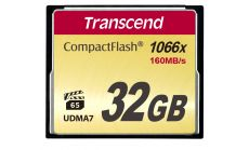 Памет Transcend 32GB 1066x Compact Flash Ultimate Type I, MLC NAND flash, read-write: up to 160MBs, 120MBs