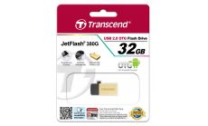 Флаш памет Transcend 32GB JetFlash 380 USB On-The-Go for ANDROID, Gold Plating