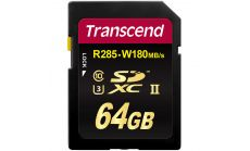 Памет Transcend 64GB SDHC Class 10 UHS-II U3 Card, read-write: up to 285MBs, 180MBs