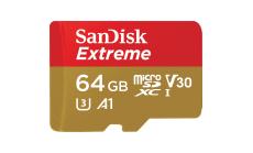 Памет SanDisk Extreme microSDXC 64GB + Rescue Pro Deluxe 100MB/s A1 C10 V30 UHS-I U3, read-write: up to 100MBs, 60MBs