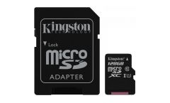 KINGSTON 128GB microSDXC Class 10 UHS-I 45MB/s Read Card + SD Adapter