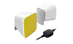 Speedlink SNAPPY Stereo Speakers, 6W RMS, USB powered, Metal mesh protection, Rubber feet , 1.25m cable, Convenient desktop remote, white-yellow