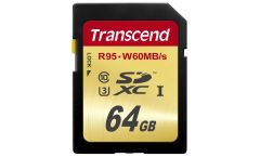 Памет Transcend 64GB SDXC UHS-I U3, read-write: up to 95MBs, 60MBs