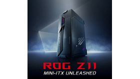 ASUS ROG Z11 GR101 PC Case mini ITX Tempered Glass Panel Headphone Microphone ports LED Lighting Control Button Black
