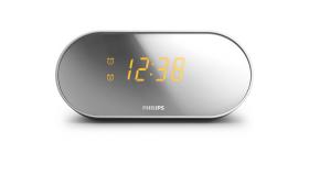 Phillips Радиочасовник Дисплей с огледално покритие, FM цифрова настройка, Двоен будилник AJ2000/12