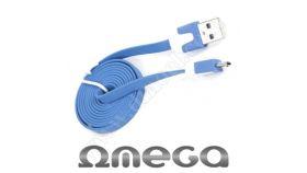 Кабел Omega 2.0 USB A(M) - USB micro-B(M), 1,0m., Flat, Blue