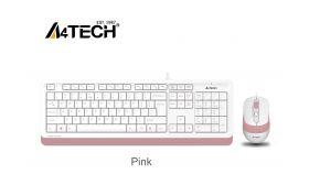 Комплект клавиатура и мишка A4TECH Fstyler  F1010, с кабел, USB, розова