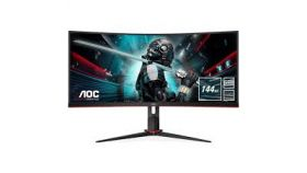 "Monitor AOC 34"" Curved 1500R 21:9 VA, WLED, 3440x1440@144Hz, 4ms, 1ms MPRT, 300cd/m2, 3000:1 (80M:1 dynamic), 178/178, sRGB119%, FlickerFree, Low Blue Light, VESA, Height adj., 2xHDMI, DP, USB hub, 3 years warranty"