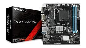 ASROCK 760GM-HDV AMD AM3+/AM3, 2xDDR3, HDMI/DVI/D-SUB, 1xPCIe x16, 1xPCIe x1, 1xPCI, 4 x SATA2, 8 x USB 2.0 (4 Front, 4 Rear) mATX