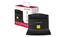 Axagon desktop stand reader Smart card / ID card AXAGON CRE-SM2 with USB 2.0 interface include SD, microSD and SIM card slots.