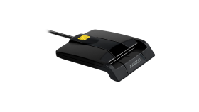 Compact desktop USB contact Smart card / ID card reader with long, fixed cable.
