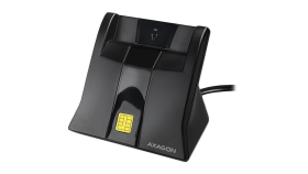 Desktop stand USB contact Smart card / ID card reader with long, fixed cable.
