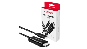 Active USB-C > HDMI 2.0 cable - adapter AXAGON RVC-HI2C for connecting a HDMI monitor/TV/projector to a notebook or mobile phone using USB type C connector.