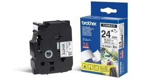 Tape BROTHER TZ Tape 24mm Black on White, Flexible, 8m lenght, for P-Touch