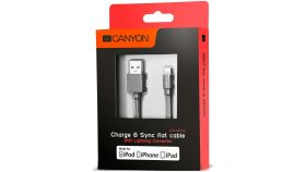 Charge & Sync MFI flat cable, USB to lightning, certified by Apple, 1m, 0.28mm, Dark gray