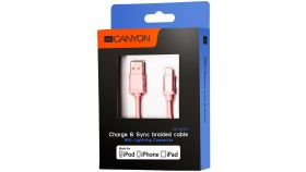 Charge & Sync MFI braided cable with metalic shell, USB to lightning, certified by Apple, 1m, 0.28mm, Rose-golden