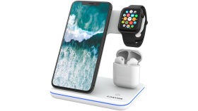 CANYON WS-302 3in1 Wireless charger, with touch button for Running water light, Input 9V/2A, 12V/2A, Output 15W/10W/7.5W/5W, Type c to USB-A cable length 1.2m, 137*103*140mm, 0.22Kg, White