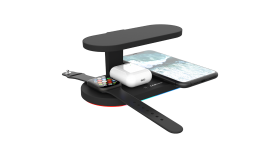 CANYON WS-501 5in1 Wireless charger, with UV sterilizer, with touch button for Running water light, Input QC24W or PD36W, Output 15W/10W/7.5W/5W, USB-A 10W(max), Type c to USB-A cable length 1.2m, 188*90*81mm, 0.249Kg, Black