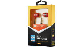 Stereo earphone with microphone, 1.2m flat cable, red