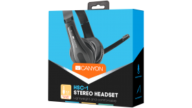 CANYON HSC-1 basic PC headset with microphone, combined 3.5mm plug, leather pads, Flat cable length 2.0m, 160*60*160mm, 0.13kg, Black