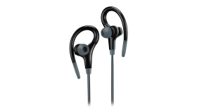 Canyon stereo sport earphones with microphone, 1.2m flat cable, black