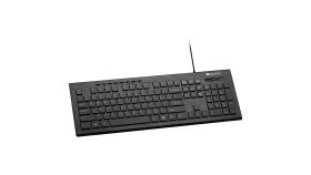 Multimedia wired keyboard, 105 keys, slim and brushed finish design, white backlight, chocolate key caps, BG layout (black)