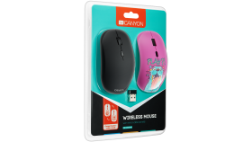 Canyon wireless Optical Mouse with 4 buttons, DPI 800/1200/1600, 1 additional cover(Play), black