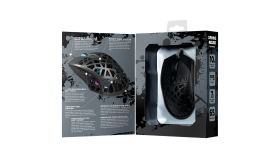 Puncher GM-20 High-end Gaming Mouse with 7 programmable buttons, Pixart 3360 optical sensor, 6 levels of DPI and up to 12000, 10 million times key life, 1.65m Ultraweave cable, Low friction with PTFE feet and colorful RGB lights, Black, size:126x67.5