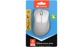 Canyon  2.4 GHz  Wireless mouse ,with 3 buttons, DPI 1200, Battery:AAA*2pcs  ,pearl white grey67*109*38mm 0.063kg