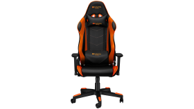 Gaming chair, PU leather, Original foam and Cold molded foam, Metal Frame, Butterfly mechanism, 90-165 dgree, 3D armrest, Class 4 gas lift, Nylon 5 Stars Base, 60mm PU caster, black+Orange.