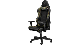 Gaming chair, PU leather, Original foam and Cold molded foam, Metal Frame, Butterfly mechanism, 90-165 dgree, 3D armrest, Class 4 gas lift, Nylon 5 Stars Base, 60mm PU caster, Black+camouflage pattern