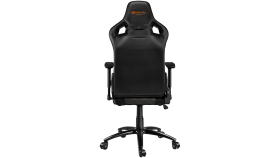 Gaming chair, PU leather, Cold molded foam, Metal Frame, Butterfly mechanism, 90-150 dgree, 3D armrest, Class 4 gas lift, metal base ,60mm Nylon Castor, black and orange stitching