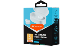 Canyon TWS Bluetooth sport headset, with microphone, BT V5.0, RTL8763BFR, battery EarBud 43mAh*2+Charging Case 800mAh, cable length 0.18m, 78*38*32mm, 0.063kg, White