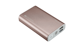 Power bank 10000mAh, quick charge QC3.0,  bulit in Lithium Polymer Battery, Rose Gold. Micro Input: 5V/2A, 9V/2A, PD Input/Output: 5V/2A, 9V/2A, Output1: 5V/2A, Output2: 18W (QC3.0).