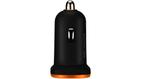 CANYON Universal  2xUSB car adapter, Input 12V-24V, Output 5V-2.1A, with Smart IC, black rubber coating with orange electroplated ring(without LED backlighting)
