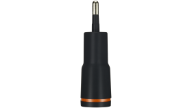 CANYON Universal 1xUSB AC charger (in wall) with over-voltage protection, Input 100V-240V, Output 5V-1A, black plastic +rubber coating (orange stripe)