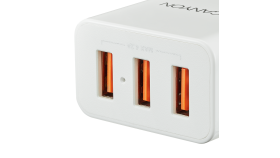 CANYON Universal 3xUSB AC charger (in wall) with over-voltage protection, Input 100V-240V, Output 5V-4.2A, with Smart IC, white glossy color+ orange plastic part of USB