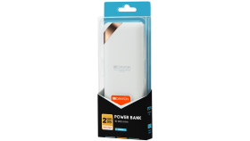 CANYON Power bank 10000mAh Li-poly battery, Input 5V/2A, Output 5V/2.1A(Max), with Smart IC and power display, White, USB cable length 0.25m, 137*67*13mm, 0.230Kg