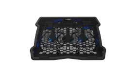"""Cooling stand dual-fan with 2x2.0 USB hub, support up to 10""""-15.6"""" laptop, ABS plastic and iron,  Fans dimension:125*125*15mm(2pcs), DC 5V, fan speed:  800-1000RPM, size:340*265*30mm, 435g"""