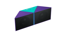 Transformer Bluetooth Speaker, BT V4.1, BEKEN BK3254, 360 degree rotation, Built in microphone, TF card support, 3.5mm AUX, micro-USB port, 800mAh polymer battery, blue-purple