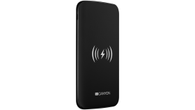 Power bank builted in wireless charger function, Noveo 9060100/8000mAh Polymer, input 5V/2A(Type C and Micro USB), output 5V/2A(2*USB), Wireless 5W, with 30cm micro USB cable, pantone 432c black housing with pantone  877c silkscreen.
